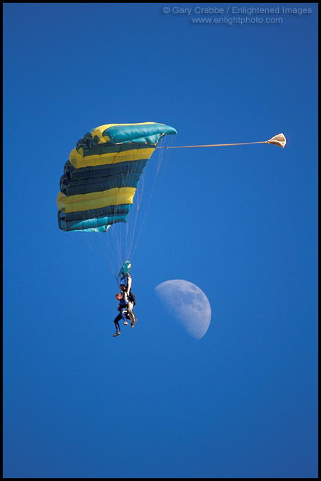 Image: Tandem paragliders floating down past the moon, Tres Pinos, San Benito County, California
