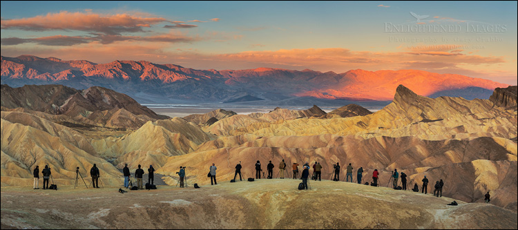Image: Photographers lined up for the shot at Zabriskie Point, Death Valley National Park, California