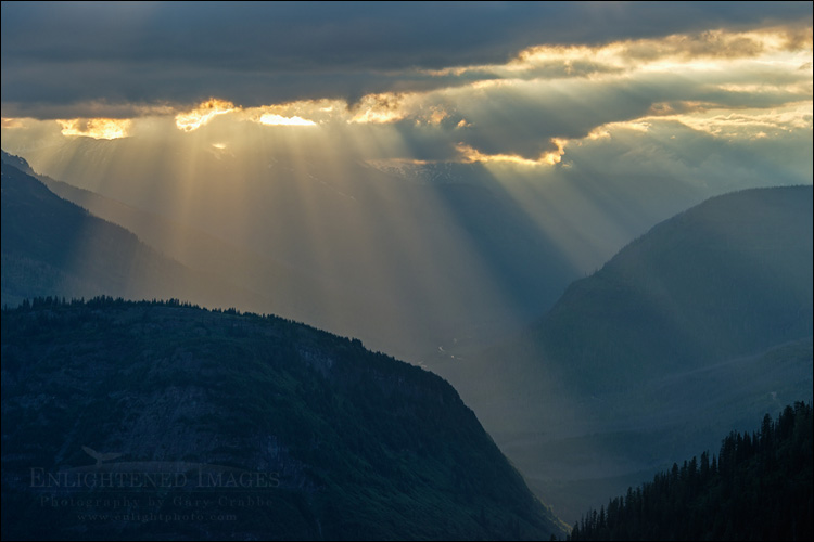Image: Sunbeams through storm clouds, Going-to-the-Sun Road, Glacier National Park, Montana