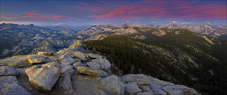 Image: Last light over the Sierra from the summit of Clouds Rest, Yosemite National Park, California