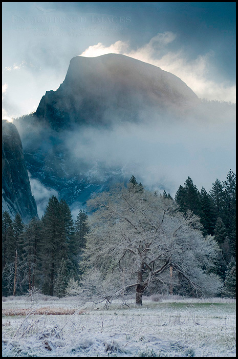 Image: Clouds streaming off the top of Half Dome in Winter, Cooks Meadow, Yosemite Valley, Yosemite National Park, Californi