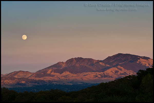 Picture Full Moon Rising Over Mount Diablo Sunset