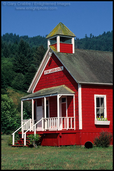 Photo Old One Room Red School House At Stone Lagoon Humboldt County California Stock Photo
