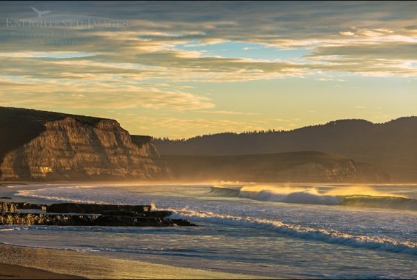 Photo: Sunrise light on the coast and cliffs above Drakes Beach, Point Reyes National Seashore, Marin County, California