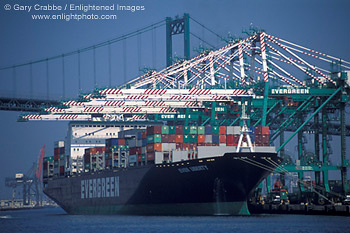 Container Cargo Ship And Shipping Cranes At The Port Of Los Angeles Long Beach