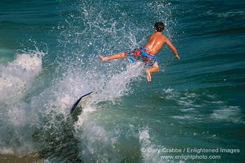 Boogie Board Surfer Flying Through Air Over Ocean Wave Balboa Island Newport Beach